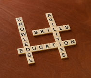 Crossword puzzle with words Skills, abilities, knowledge and edu. Cation. Learning concept. Ivory tiles with capital letters on mahogany board Royalty Free Stock Image