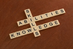 Crossword puzzle with words Skills, abilities, knowledge. Learni Stock Image