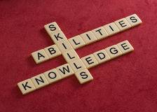 Crossword puzzle with words Skills, abilities, knowledge. Learni Royalty Free Stock Images