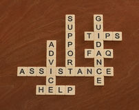 Crossword puzzle with words Support, Help, FAQ, Assistance. Cust Stock Images