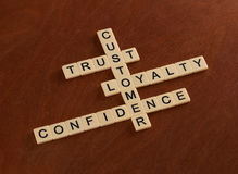 Crossword puzzle with words Trust, Loyalty, Confidence. Customer Royalty Free Stock Images