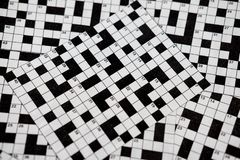 Crossword puzzles. Picture of a classic crossword puzzles, with high black and white contrast Stock Photos