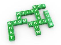 Crossword of question words stock illustration