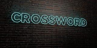 CROSSWORD - Realistyczny Neonowy znak na ściana z cegieł tle - 3D odpłacający się królewskość bezpłatny akcyjny wizerunek Zdjęcia Stock