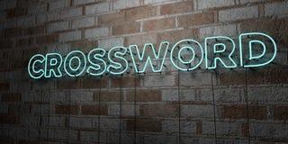 CROSSWORD - Rozjarzony Neonowy znak na kamieniarki ścianie - 3D odpłacająca się królewskości bezpłatna akcyjna ilustracja Obrazy Royalty Free