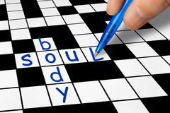 Crossword - Soul and Body Stock Image