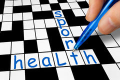 Crossword - sport and health royalty free stock photography