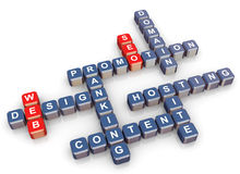 Crossword of web and seo. 3d render of crossword - web design and website promotion Stock Photography
