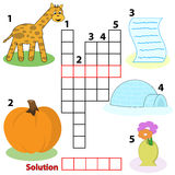 Crossword words game for children vector illustration