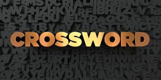 Crossword - Złocisty tekst na czarnym tle - 3D odpłacający się królewskość bezpłatny akcyjny obrazek Obraz Royalty Free