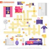 Crossword z ogromnym setem ilustracje i słowem kluczowym w wektorowym płaskim projekcie odizolowywającym na białym tle Crossword  ilustracji