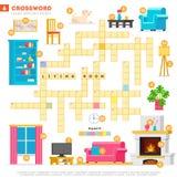 Crossword z ogromnym setem ilustracje i słowem kluczowym w wektorowym płaskim projekcie odizolowywającym na białym tle Crossword  royalty ilustracja