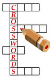 Crosswords. Trying to solve a crosswords puzzle Royalty Free Stock Image