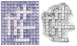 Crosswords na temat astronomii Fotografia Stock