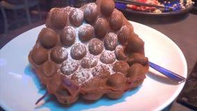 Crosta de gelo do açúcar do saque do waffle de Hong Kong Pancake filme
