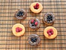 Crosta de gelo do alimento das bagas do fruto dos produtos da padaria das framboesas dos anéis de espuma Fotografia de Stock