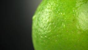 Crosta do cal com gotas da água em um fundo preto Gotas da água em um fim do citrino acima Tiro macro de um citrino video estoque