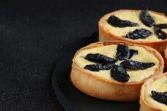Crostata con la fine della panna acida su su fondo scuro torta di formaggio sul piatto dell'ardesia fotografia stock libera da diritti