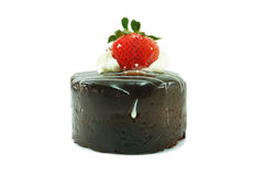 Crostata del cioccolato con la fragola Fotografia Stock Libera da Diritti