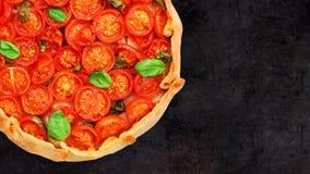 Crostata del pomodoro ciliegia Fotografie Stock