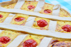 Crostata della zucca con la guarnizione ed i pomodori ciliegia del formaggio Immagine Stock Libera da Diritti