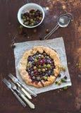 Crostata di estate o torta di galette con il giardino fresco fotografia stock libera da diritti