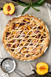 Crostata pie with peaches and cinnamon Stock Image