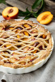 Crostata pie with peaches and cinnamon Stock Images