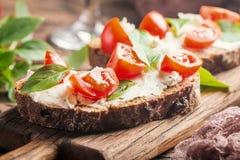 Crostini开胃菜用西红柿和乳酪 库存图片