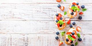 Crostini用烤长方形宝石,乳脂干酪和莓果 免版税库存图片