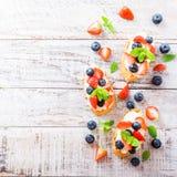 Crostini用烤长方形宝石,乳脂干酪和莓果 图库摄影