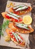 Crostini用鲥鱼 免版税库存图片