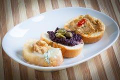 Crostini,意大利样式开胃菜 免版税库存照片