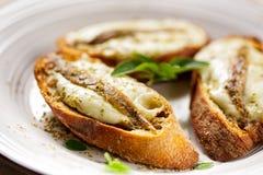 Crostini με τα ψάρια, το τυρί μοτσαρελών και oregano Στοκ Φωτογραφία