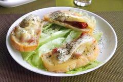 Crostini με τις ξηρές ντομάτες, το μπλε τυρί και Camembert Στοκ εικόνες με δικαίωμα ελεύθερης χρήσης