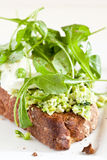 Crostini. Delicious crostini with puree of raw beans and peas with mozarella Royalty Free Stock Photography