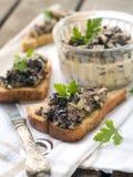 Crostini. With mushrooms, selective focus Stock Photos