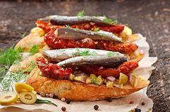 Crostini with anchovies Royalty Free Stock Photography