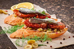 Crostini with anchovies Royalty Free Stock Images