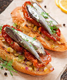 Crostini with anchovies Stock Photography