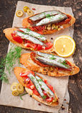 Crostini with anchovies Royalty Free Stock Image