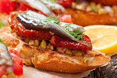 Crostini with anchovies Royalty Free Stock Photo