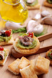 Crostini with anchovy Royalty Free Stock Images
