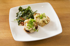 Crostini with arugula salad. As a starter Royalty Free Stock Photography