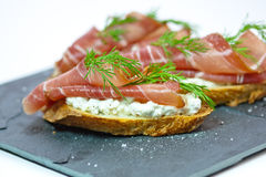 Crostini with bacon Royalty Free Stock Photos