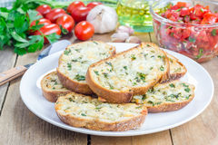 Crostini with basil, parsley, garlic, cheese. Crostini with basil, parsley, garlic and cheese Stock Photos