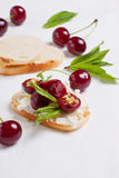 Crostini with berries Royalty Free Stock Photo