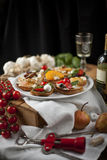Crostini and bruschetta with cheese, pears, persimmon and honey Royalty Free Stock Photo