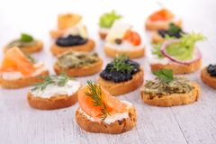 Crostini, canape Royalty-vrije Stock Foto's