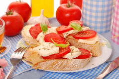 Crostini with caprese for breakfast Stock Images